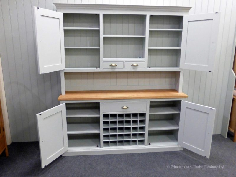 Edmunds 6ft Painted kitchen Dresser, rack includes 2 doors and centre shelf with spice drawers. sideboard includes wine rack in centre with drawer above and 2 doors either side. choice of handles. EDM038