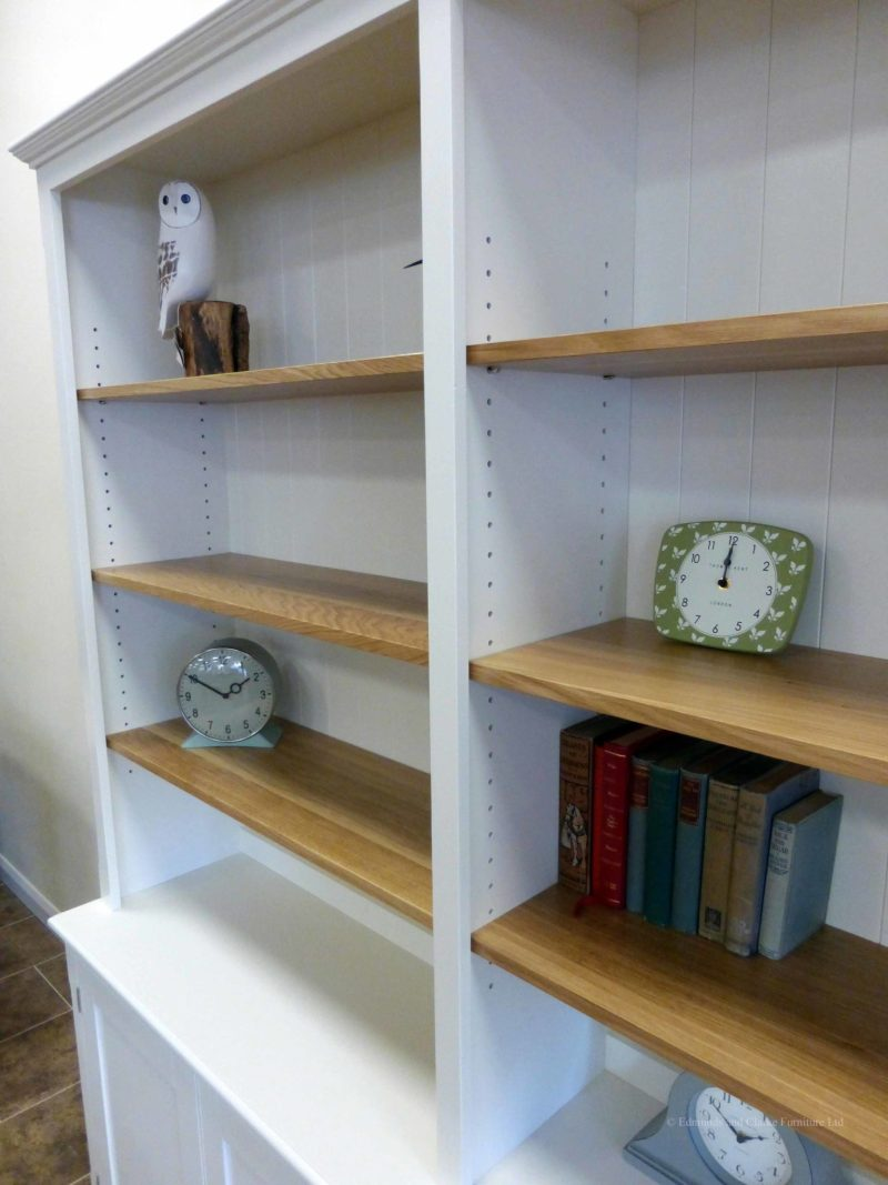 Edmunds 2 metre Painted double library bookcase, image showing close up of oak shelves. painted all over with adjustable oak shelves, cupboard under with 4 doors. adjustable shelves, choice of handles and knobs. EDM048