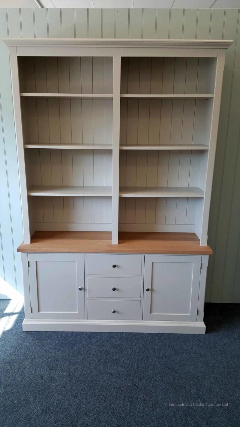 5ft Edmunds Library Painted Bookcase. thick square oak top chrome round patterned premium knobs. adjustable shelves. EDMLBC5