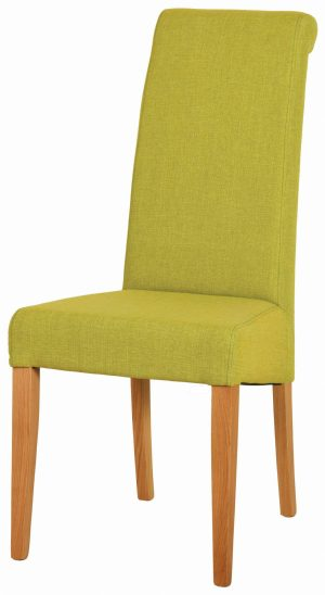Mauve fabric dining chair with light oak legs. tight woven fabric on back seat and pad