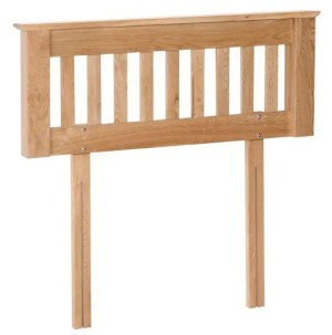Norwich Oak 5ft King size Headboard. Contemporary Shaker style straight lines with oak capping at top. slatted in middle. NNH60