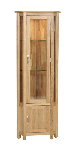 Norwich Oak Glass Corner Display Cabinet. contemporary shaker style straight lines and shaped edges on tops. shaped chrome bar handles.Glass shelves are adjustable. 1 handy door under with adjustable shelf. NNG45