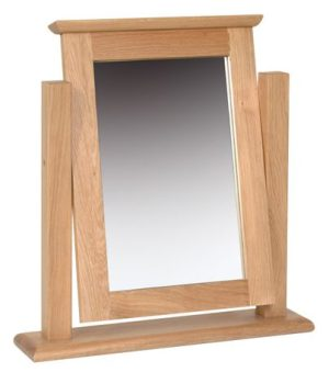 Norwich Oak Single Dressing Table Mirror. Shaker style with clean lines on a swing stand NNM05