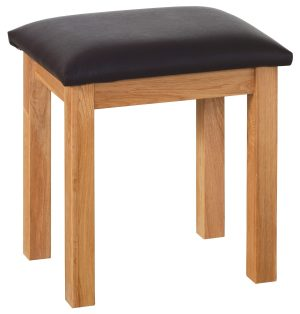 NNS10 Norwich Oak dressing table Stool. Contemporary shaker style with clean lines. faux leather black seat pad NNS10