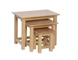 Norwich Oak Small Nest of Tables.Nest of three. contemporary shaker style straight lines and shaped edges on tops. NNT28