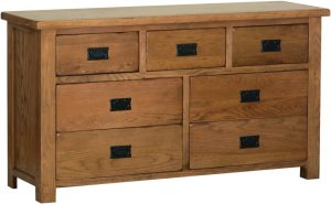 Sudbury Oak 3+4 combination chest. rustic oak style straight lines and shaped edges on tops. rustic black drop down handles. SRC90