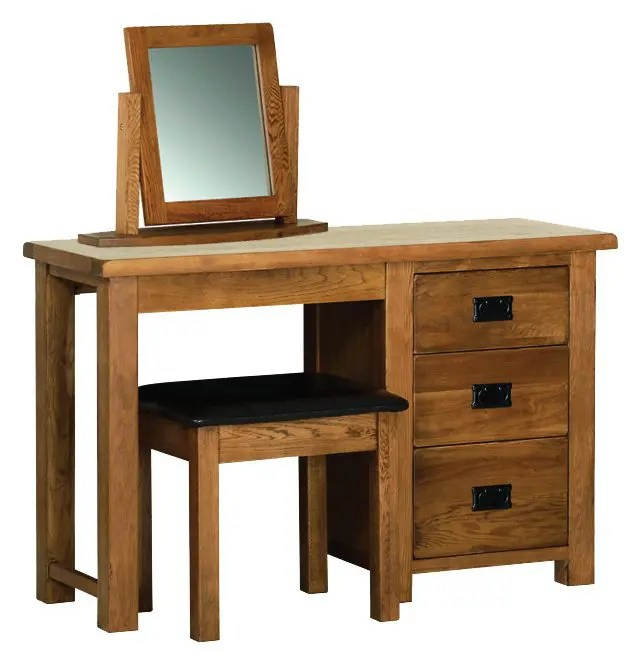 Image showing Sudbury Oak single pedestal dressing table, stool and mirror. all bought separately. Rustic shaker style with rounded edges. 3 handy drawers with black drop down handles SRD25, SRS10, SRM05