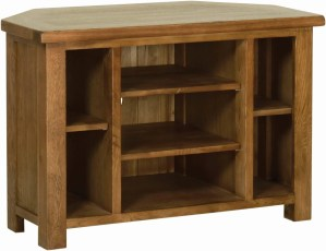 Sudbury Oak Corner TV Cabinet. rustic shaker style with rounded edges. 4 open adjustable shelves. SRE10
