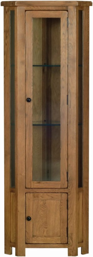 Sudbury Oak Corner Display Cabinet. rustic shaker style with rounded edges. Comes with display light. 2 adjustable glass shelves and 1 adjustable shelf in cupboard. SRG45
