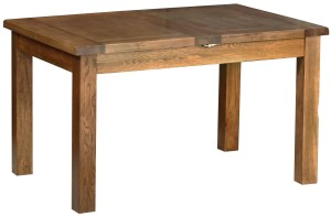 Sudbury Oak 4'4 x 3' Ext Table. Image showing closed and un-extended. Extends from 132 to 203. Seats 6. Rustic shaker style with rounded edges. SRT07