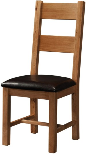 Sudbury Ladder Back Dining Chair. Rustic oak shaker style with 2 horizontal wide slats. SRUS098