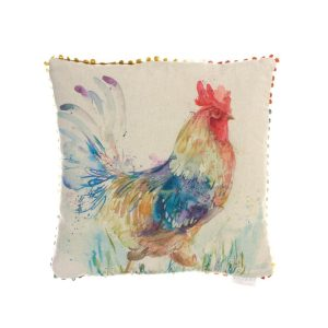 Voyage Cushions C160039 strutting cockerel. Colourful watercolour print on a linen background square cushion with edging