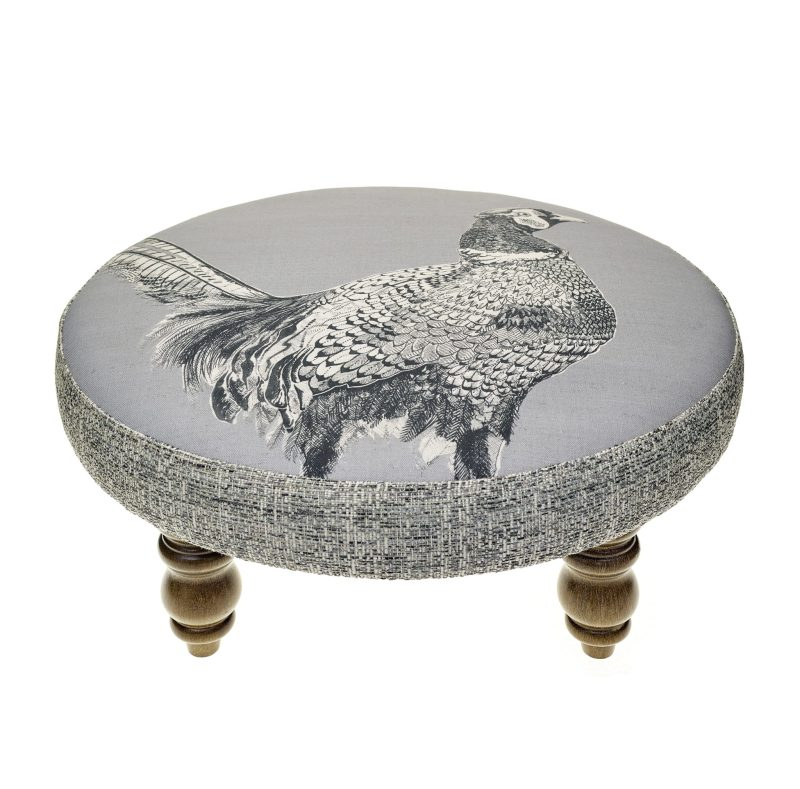 Voyage Maison Cato Footstool - Venatu FS17016-CATO-PHEASANT, round footstool with contrast edge, dark oak turned legs