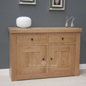 Hadleigh solid oak chunky small sideboard. light lacquered oak with rustic knobs 2 handy drawers and 2 doors below