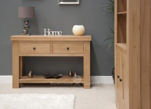 Hadleigh Solid Oak Console Table. Chunky shaker style oak. two handy drawers and shelf at bottom