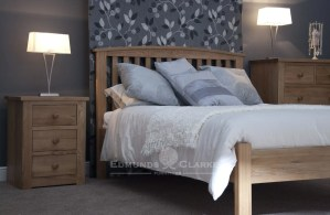 Milano Solid Oak Bed 5ft. vertical slats on headboard with slight curve capping