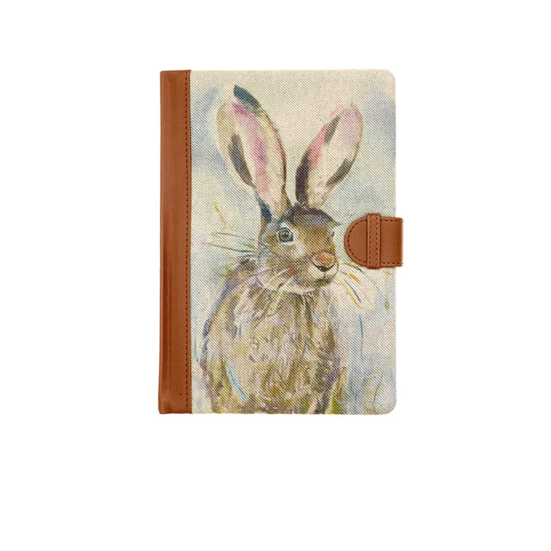 Voyage Maison Notebooks Harriet Hare is printed on natural Scottish Linen with cream lined paper inside. NB16009