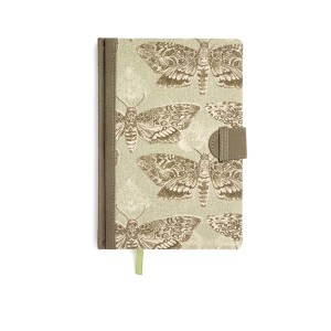 Voyage Maison Notebooks Nocturnal. A notebook printed onto scottish linen with lined paper inside and ribbon bookmark.