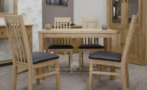Bury solid oak dining table - fixed top 4ft x 2'6. perfect for small spaces, shaker style square legs