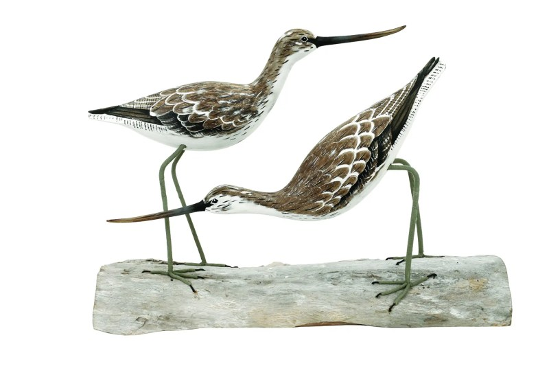 Archipelago Greenshank Block Wood Carving. D245 hand made and carved. Fairtrade