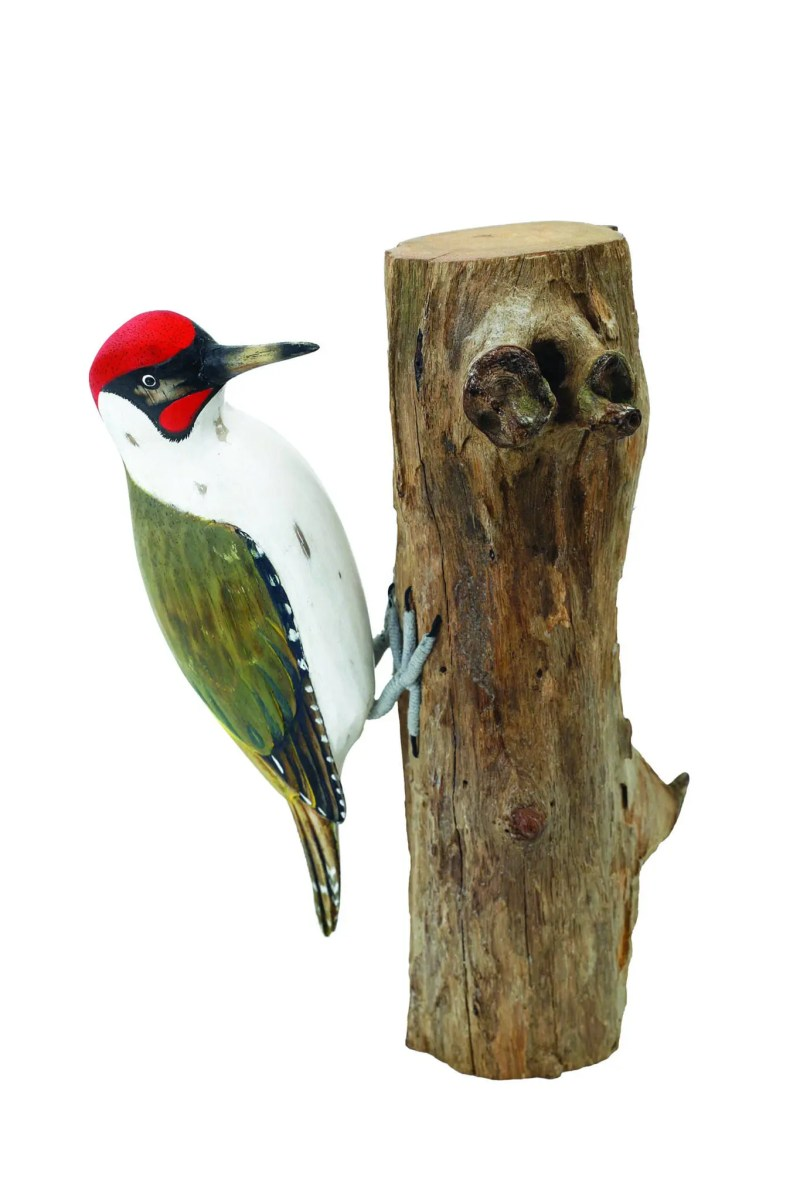 Archipelago Green Woodpecker Wood Carving D274 perched on a trunk, red and green markings. Fairtrade