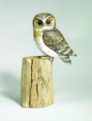 Archipelago Little Owl Wood Carving D330. perched on a log. fair trade