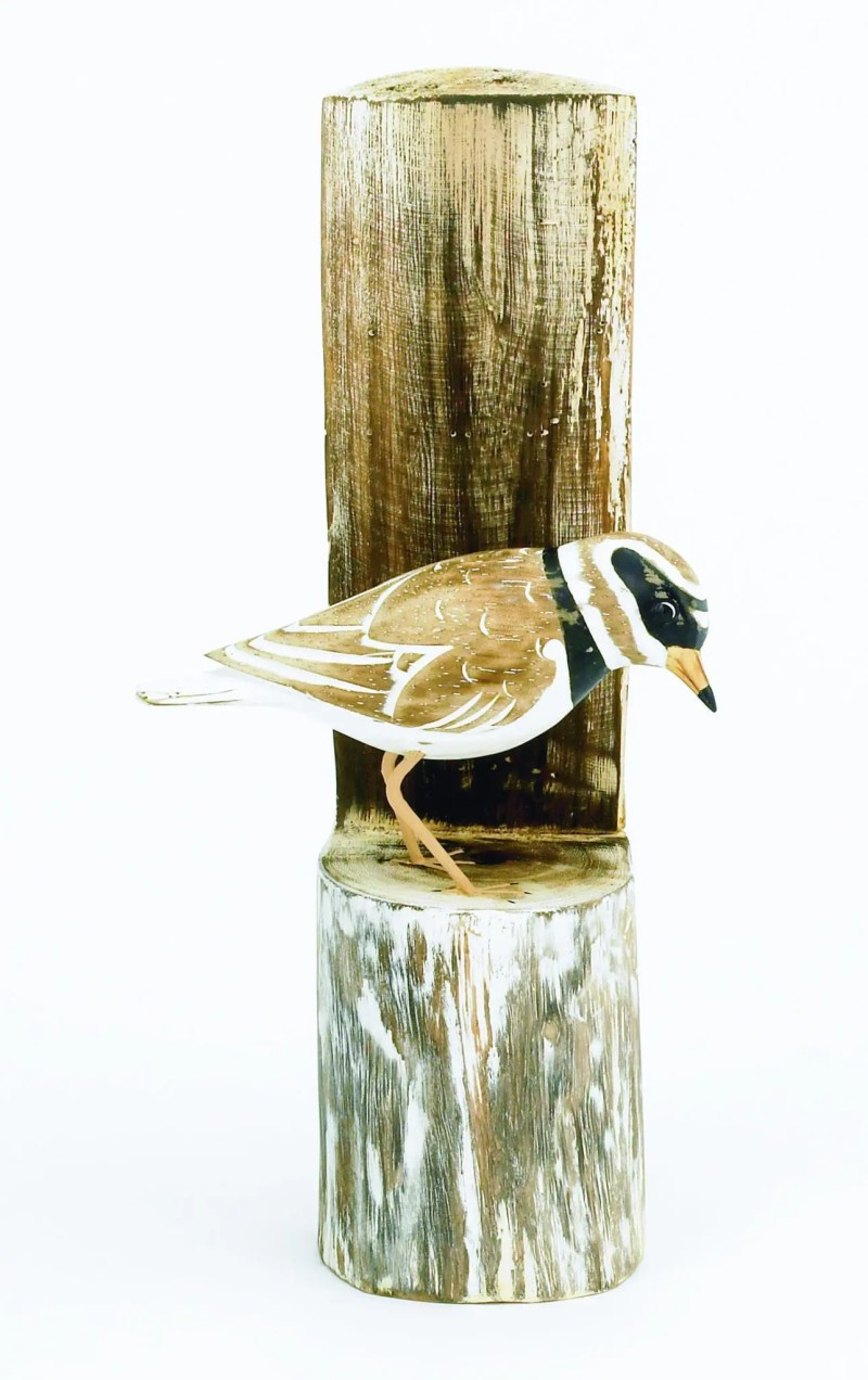 Archipelago Plover Post Wood Carving. D356Plover on its own post hand carved and painted. Fairtrade