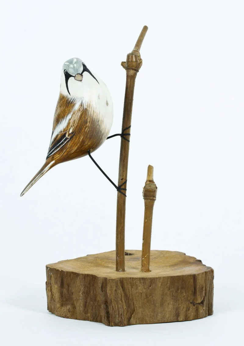 Archipelago Bearded Tit Wood Carving D377. Perched on a branch. Fair Trade