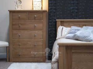 solid oak 2 over four drawer chest, chrome tapered knobs