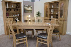plain oak top extending table 6 - 10 seater