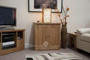solid oak two door cupboard with one internal shelf 77 high by 75 wide by 45 centimetre deep
