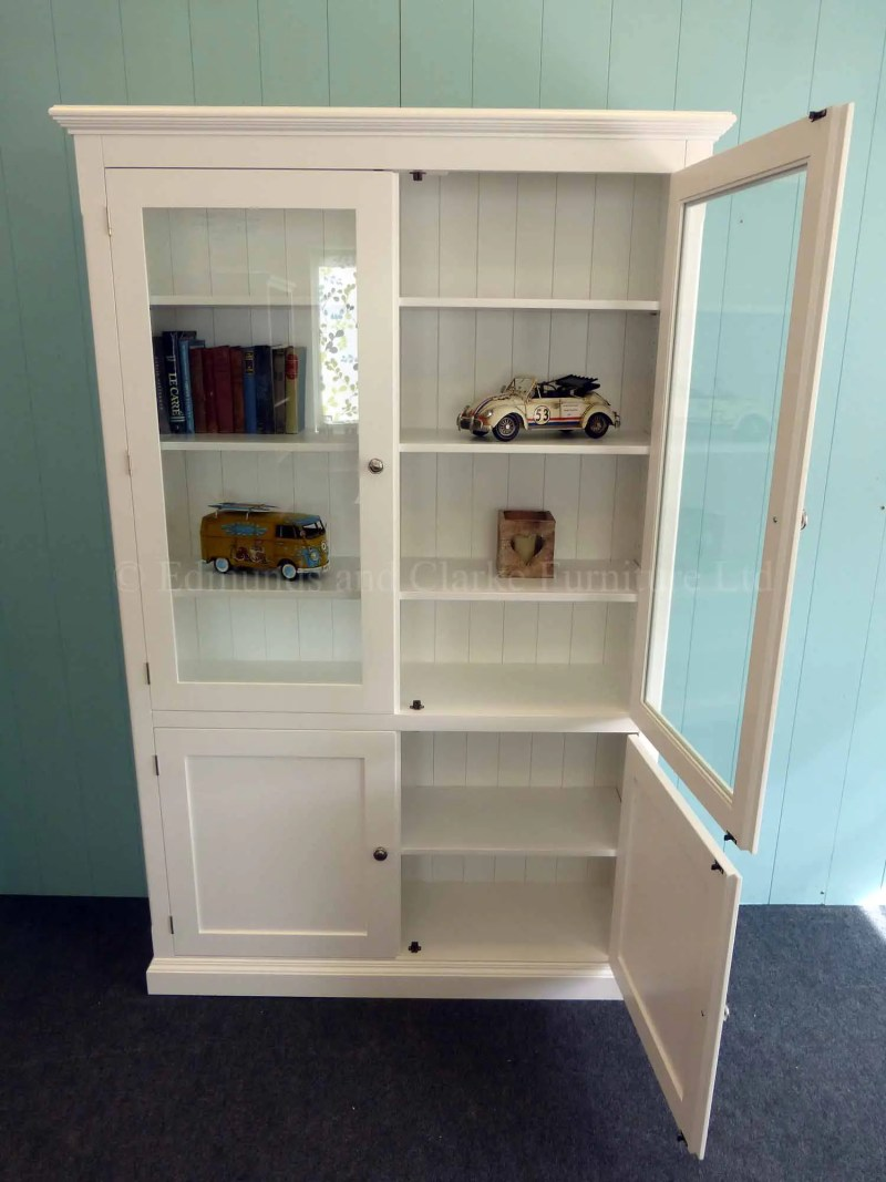 Painted white glazed bookcase with paneled doors below, choice of colours available