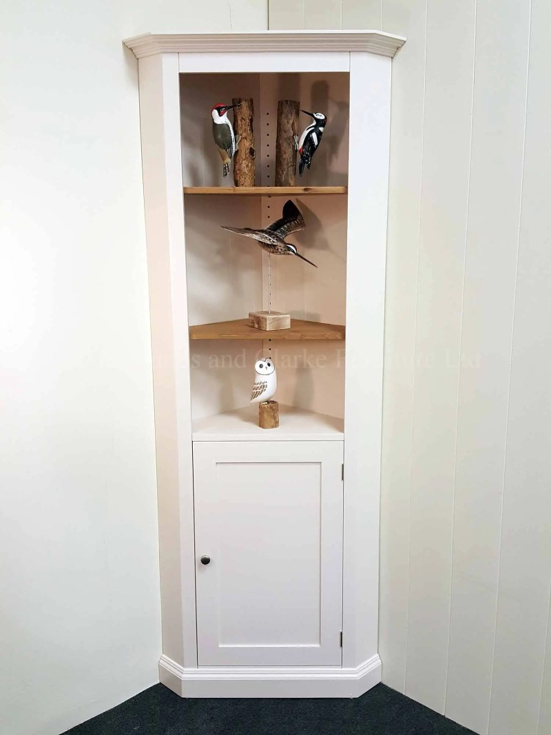 Edmunds painted white narrow corner cupboard waxed shelves