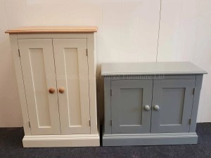 Edmunds painted 2 door cupboard. available in many sizes and heights. 10 colours to choose from and choose from oak, pine or painted tops