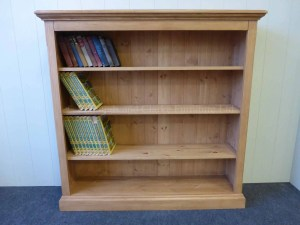 Edmunds pine Standard Depth Bookcases. image shows pine all over including the shelves, nouled top and cornice. many sizes available