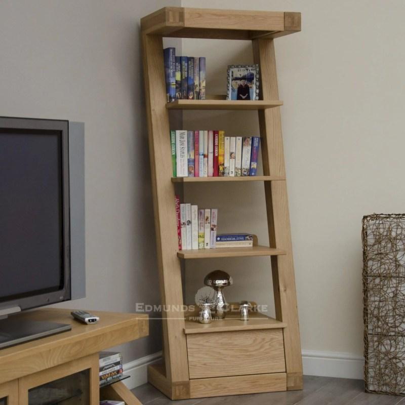 Z designer solid oak designed furniture narrow bookcase with drawer and four shelves