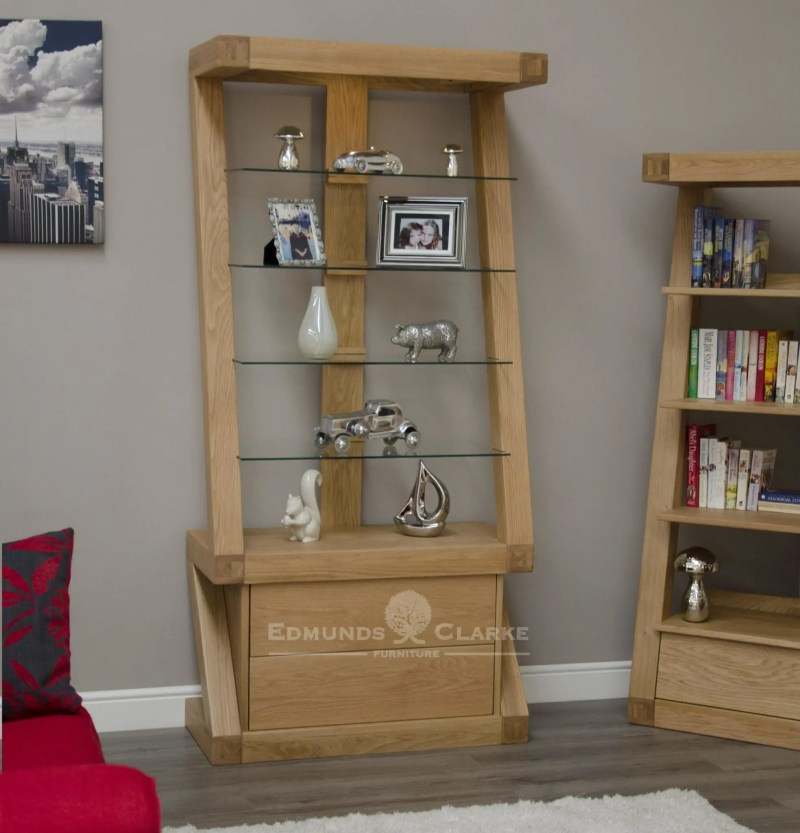 Z shaped solid oak glass display cabinet 2 drawers below 4 glass shelves above ZGDC
