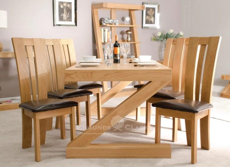 Solid oak dining table Z shaped Z6X3T
