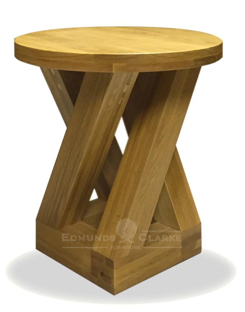 Z designer solid oak 4 leg lamp table round with Z square legs ZRND4LT
