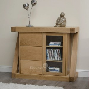 Z shape designer solid oak small glazed chest ZSMCH