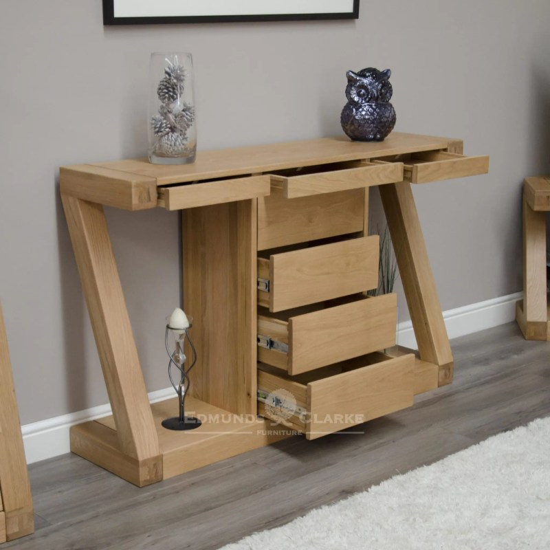 Z designer solid oak wide console table with 4 central drawer