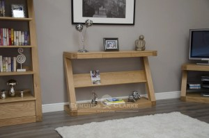 Z designer solid oak wide console table with shelf and three drawers ZWDHT+D