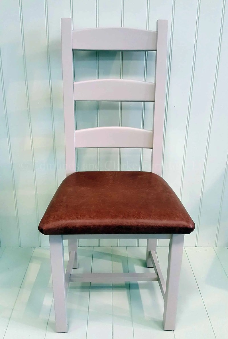 Amish dining chair painted dunwich stone with real leather seat pad