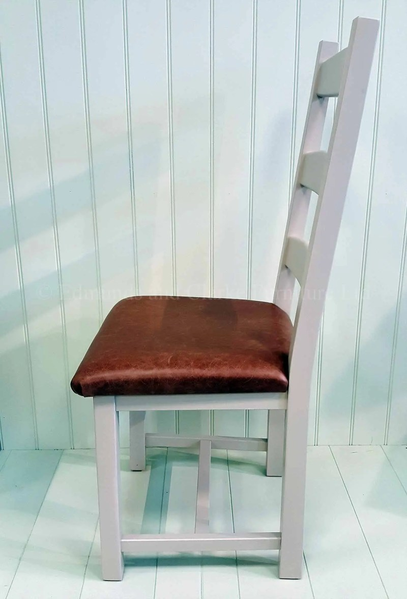 Amish painted side chair with real leather seat pad, choose your paint colour