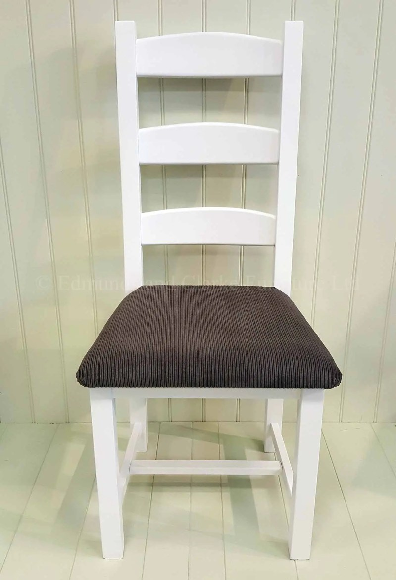 White painted Amish chair with grey fabric seat
