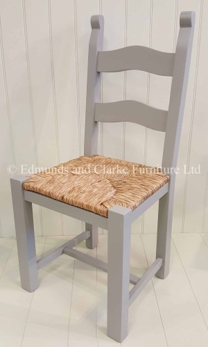 Bretton grey painted dining chair with rush seats