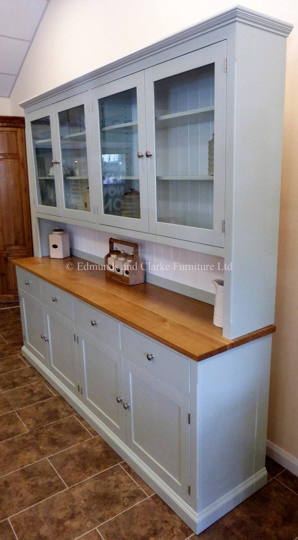 8ft Edmunds half glazed painted dresser with oak top