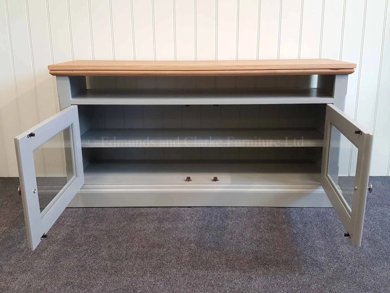 Edmunds painted glazed television stand made with oak top