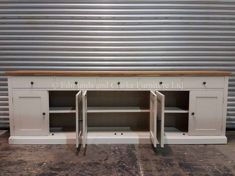 9ft painted sideboard 6 doors and 5 drawers choice of paint colours and tops