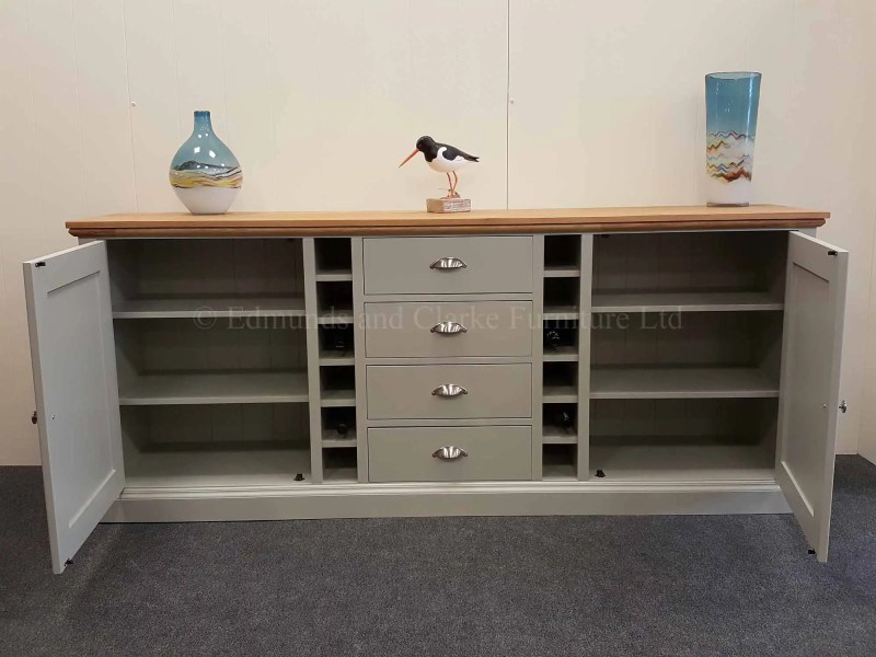 7' painted edmunds sideboard with wine rack storage.